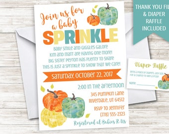 Pumpkin Baby Sprinkle Invite Invitation Boy Blue 5x7 Orange Fall Digital Personalized