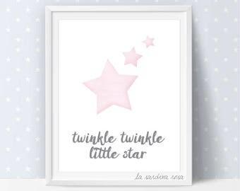 Stars wall art, Pink and gray nursery decor, Twinkle twinkle little star print, Nursery printable wall art #0045P