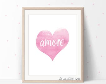 Amore wall art, Printable quotes, Love print, Italian quotes, decor, Girl room art #0048