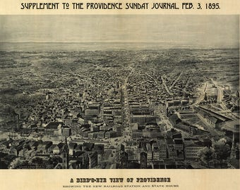 1895 Panoramic Map of Providence Rhode Island