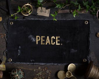 PEACE. Brass letters on UPCYCLING JEANS in the used - industrial - vintage look