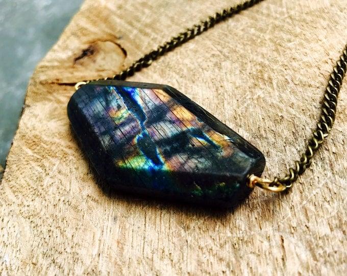 Spectrolite Rainbow Labradorite Statement Pendant Necklace