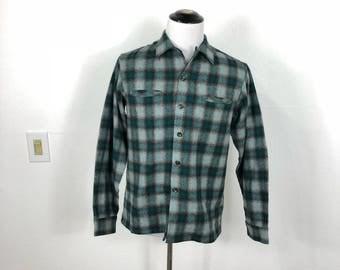 50's vintage shadow plaid 100% wool flannel shirt size M