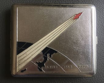 Cigarette Holder, Vintage Silver Color Aluminium Cigarette Case, Russian Space Rocket, made in USSR.