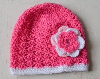 Cute baby hat with its flower pink and white birthday gift