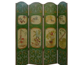 wholestoreSALE Green Flower and Animal Graphic Floor Screen Room Divider mh124e