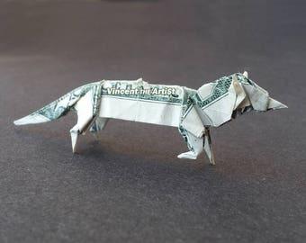 FOX Money Origami Dollar Bill Animal Cash Sculptors Bank Note Handmade Dinero