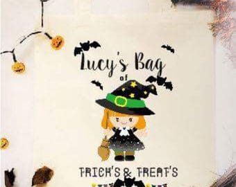 Personalised halloween bag, Trick or treat bag, personalised bag , Halloween .