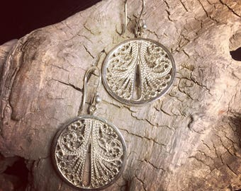 Circular Silver 980 Filigree Earrings