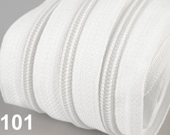 Kit continuous zipper with M - Nylon mesh 5 mm + 2 sliders and 2 stops metal / Color to choose
