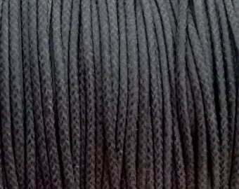 1 mm dark grey coated cotton cord