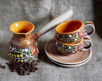 Valentines-day-gift-wife-birthday-gift-Turkish-coffee-set-ceramic-Coffee-pot-and-two-coffee-cups-and-saucers-orange-gifts-warm-gifts