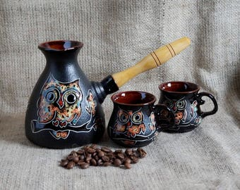 Ceramic coffee set Owl Turkish coffee pot Ceramic turk & 2 cups Unique Christmas gift Wife gift Daughter gift Birthday Wedding gift ideas