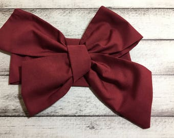 TIED, Burgundy Headwrap, Cranberry Headwrap,Solid Headwrap,Baby Headband,Toddler Bows, Baby Girl Headwrap,Big Bow Headwrap, Infant Headwrap