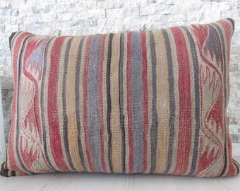 Unique Vintage Nomadic Kilim Pillow 16x24 Bohemian Turkey Pillow Decorative Pillow Home Decor Pillows Embroidery 16x24 Turkish Pillow
