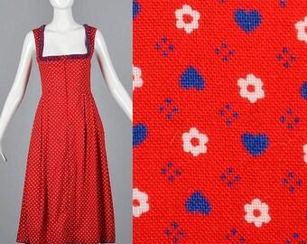 SALE Small Unique Neckline Dress Oktoberfest Dress Vintage Austrian Dirndle Zip Front Dress Red Print Ethnic Folk Costume