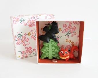 """Mini box Fables """"The Raven and the Fox"""" - kids decor - Diorama - Fable Jean de la Fontaine - unique Creation"""