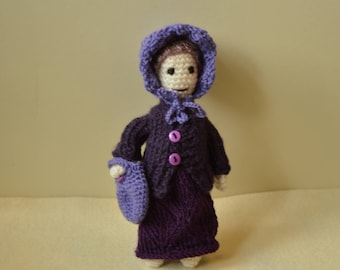 Violet crochet doll, Amigurumi doll, handmade doll with clothes