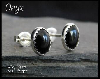 Black onyx earrings, oval, 8x6mm, sterling silver 0.925, stud earrings, post earrings, ready to ship! 116