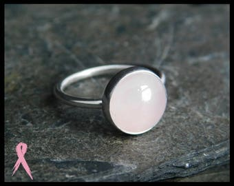 Size 5 - Rose quartz ring, sterling silver (0.925), 10mm. Thin ring, minimalist. With donation to Breast cancer research. 247
