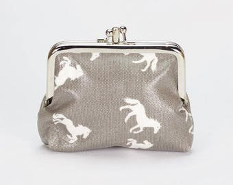 Double Coin Purse- Horse print - Oilcloth clasp wallet - Oil cloth Kissloch purse - Small ladies wallet - laminated cotton- Horse lover