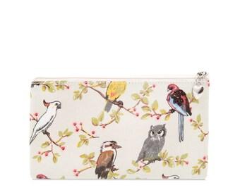Oilcloth Pencil case - Australia bird cockatoo - Zip pouch - Oilcloth Pencil pouch - Zip wallet- School bag - Zipper pouch - Womens wallet