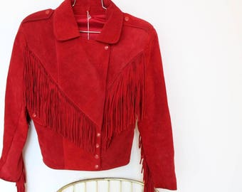 Vintage Red Suede Fringe Jacket