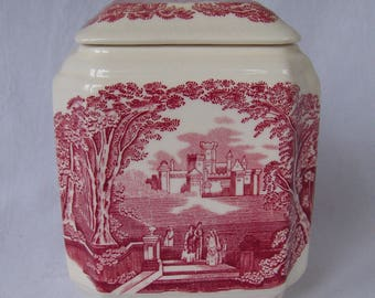 Red and Cream Transfer-ware Victorian Country Toile Canister