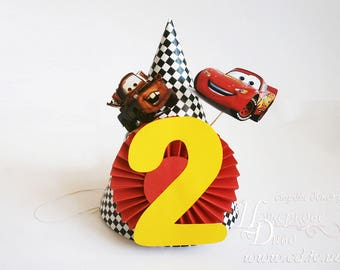 Personalized Birthday hat Car - Boys birthday hat - Boy party - Photo Prop Birthday Party Hat - Car inspired party hat - Race Car checkered
