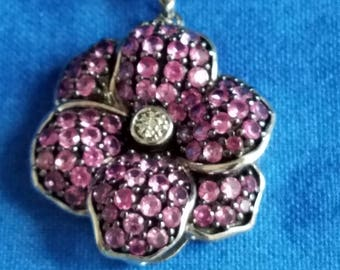 CP053 Vintage Sterling Silver Necklace with Purple Flower Pendant with
