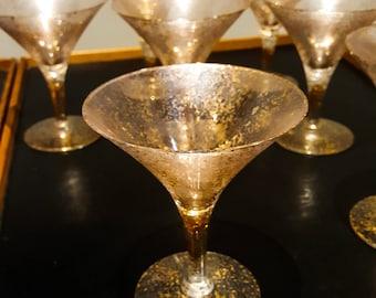 Set of 7 Glamorous Vintage Gold Hollywood Regency Splatter Hollow Stem Coupe Martini or Champagne Glasses