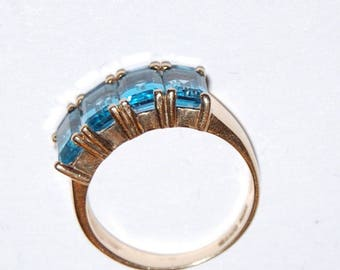 10K Solid Yellow Gold Ring Band Swiss Blue Topaz Gemstones 3grams
