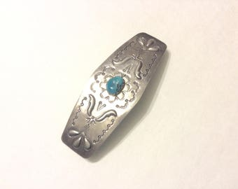 FREE SHIPPING US Native American Sterling Silver Turquoise Barrette Stainless Clip is Made in Franc Marked Sterling