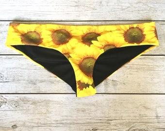 Sunflower Bikini Bottom// Seamless Scrunch Bikini // Floral Swimwear