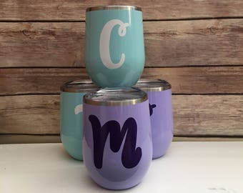 1-3 Day Processing! Monogrammed, Single Initial, Name or Plain wine tumblers with lid! Wine tumbler! Gifts/ Wedding/ Birthday/ Mother/ BFF