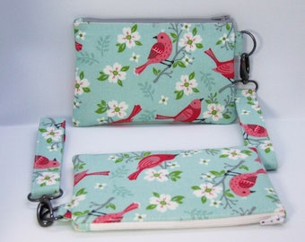 Pretty floral bird wristlet clutch purse with detachable wrist strap