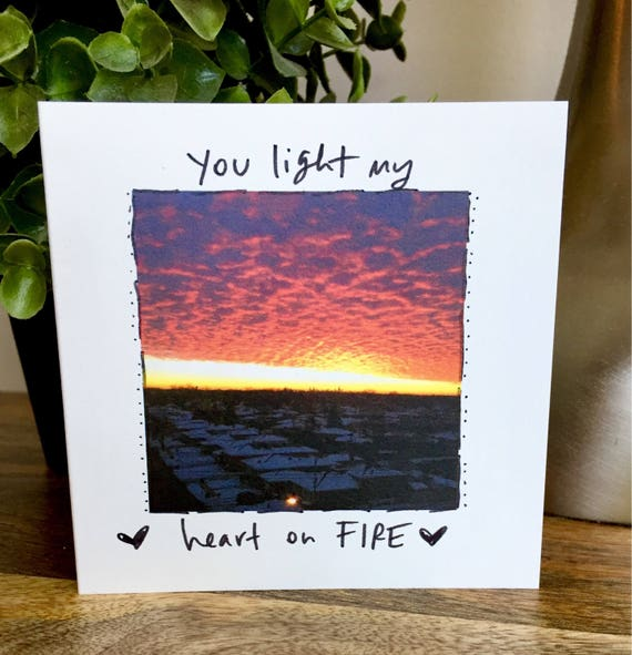 I love you card, first anniversary for him, hearys on fire, you make happy, hand lettered valentines day card, one year anniversary card,