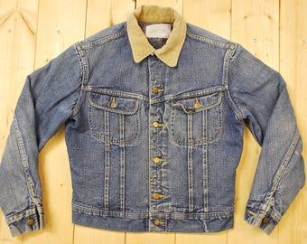 Vintage 1980's LEE STORM RIDER Denim Blanket Lined Jean Jacket / Made in U.S.A. /  Retro Collectable Rare