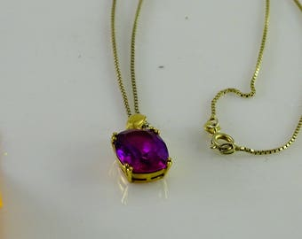 """Big Pink Stone 18"""" Box Link Chain All Sterling"""