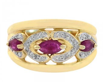 0.40 Carat Marquise Cut Rubies and Round Cut Diamonds Ring 14K Yellow Gold