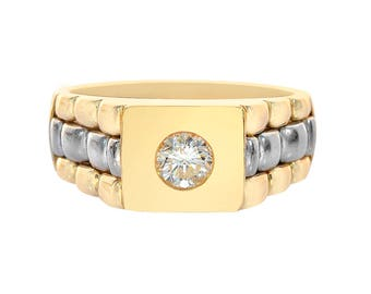 0.45 Carat Round Cut Diamond Men's Ring 14K Two Tone Gold