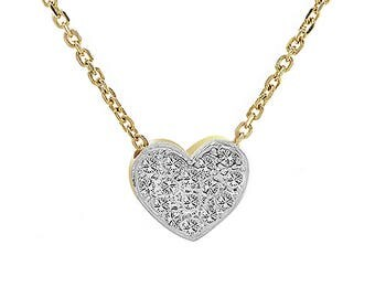 0.25 Carat Pavé Round Diamond Heart Slider Pendant on Cable Chain 14K Yellow Gold