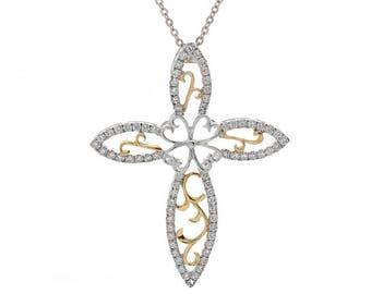 0.75 Carat Round Diamond Floral Cross Pendant 14K Two Tone Gold