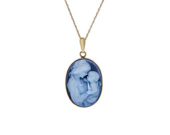 """Mother & Child Cameo Necklace Onyx Oval Pendant With Cable 18"""" Chain 14K Yellow Gold"""