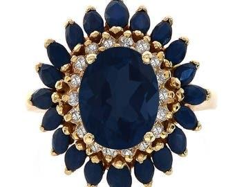 4.00 Carat Sapphire & 0.25 Carat Diamond Vintage Ring 14K Yellow Gold