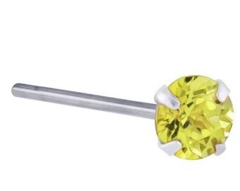 Canary Yellow Diamond 950 Platinum Fishtail Nose Ring