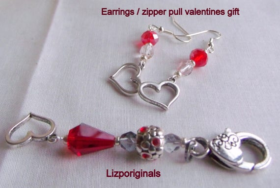 Valentines gift set - red earrings - heart zipper pull - 3 piece set - Gift for wife - fused glass trinket dish - heart  charm - unique
