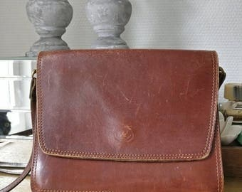 Brown Leather Bag, Vintage Purse, Real Leather Crossbody Bag, 70s Shoulder Bag