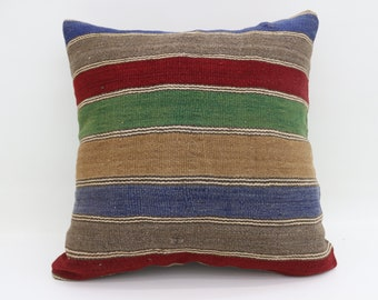 20x20 Large Turkish Kilim Pillow Striped Pillow Multicolor Kilim Pillow Red Pillow  Bohemian Cushion Cover Pillow Green Pillow SP5050-2721