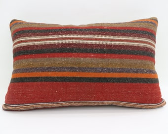 16x24 Kelim Kissen Red Pillow Multicolor Pillow Bohemian Pillow 16x24 Brown Pillow Striped Pillow Throw Pillow Cushion Cover SP4060-1307